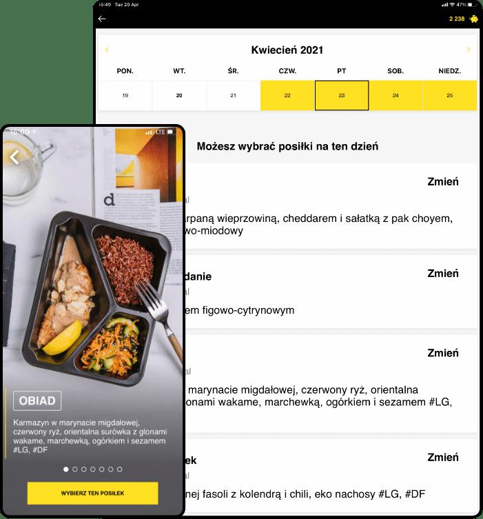 wygodna aplikacja mobilna catering dietetyczny, dieta pudełkowa z wyborem menu